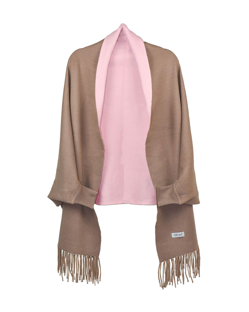Cozie Cardigan Tan Pink Front