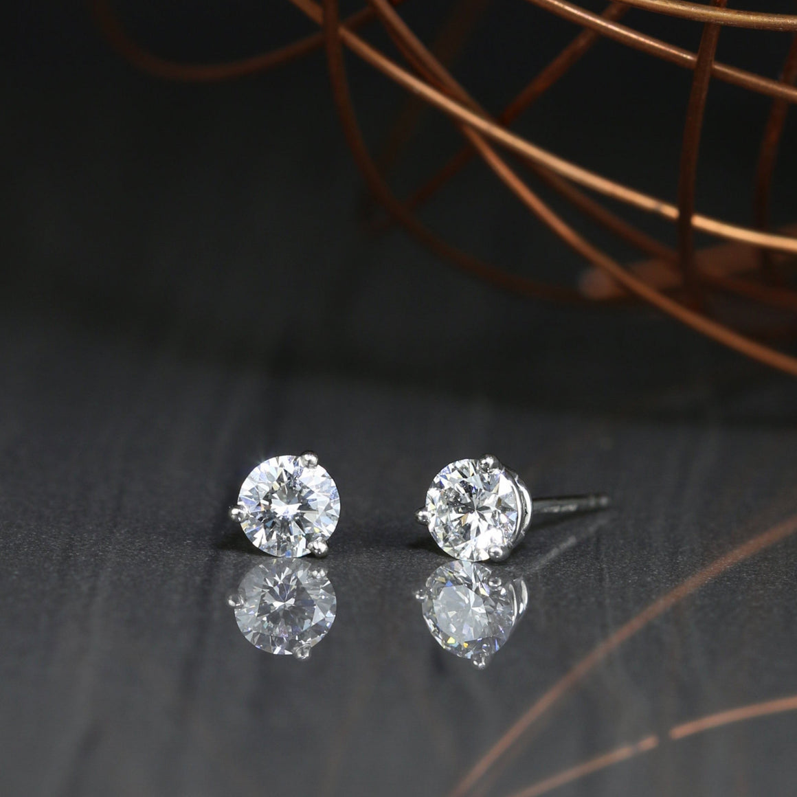 Diamond Stud Earrings in Platinum - 0.75ctw