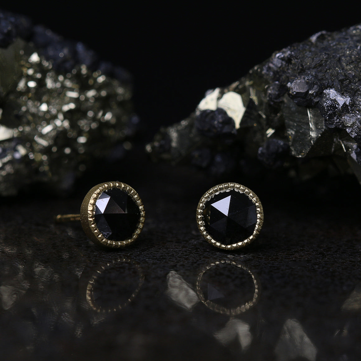 Rose Cut 7mm Black Diamond Stud Earrings in Yellow Gold
