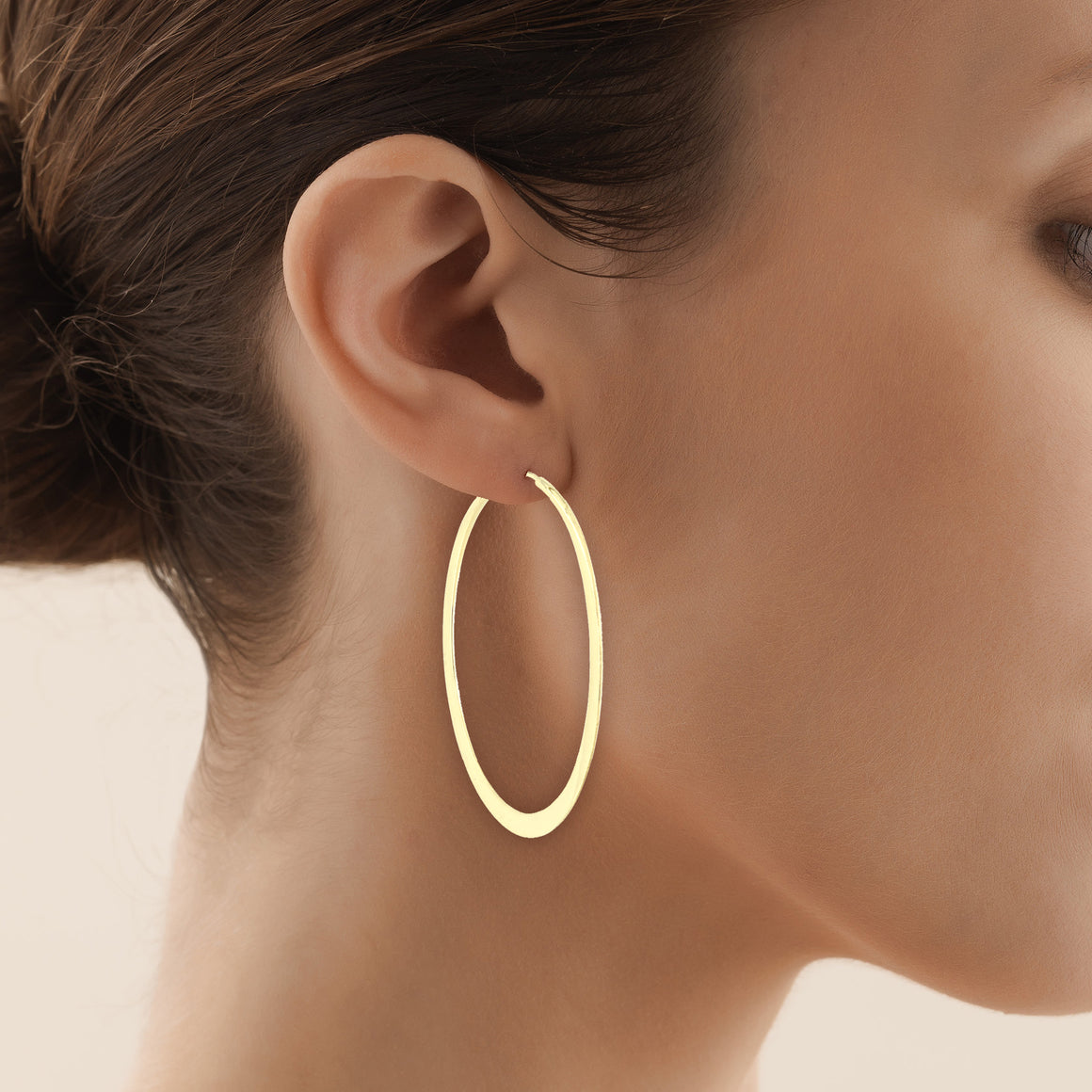 Endless Hoop Earrings in Matte Yellow Gold - 2 inch