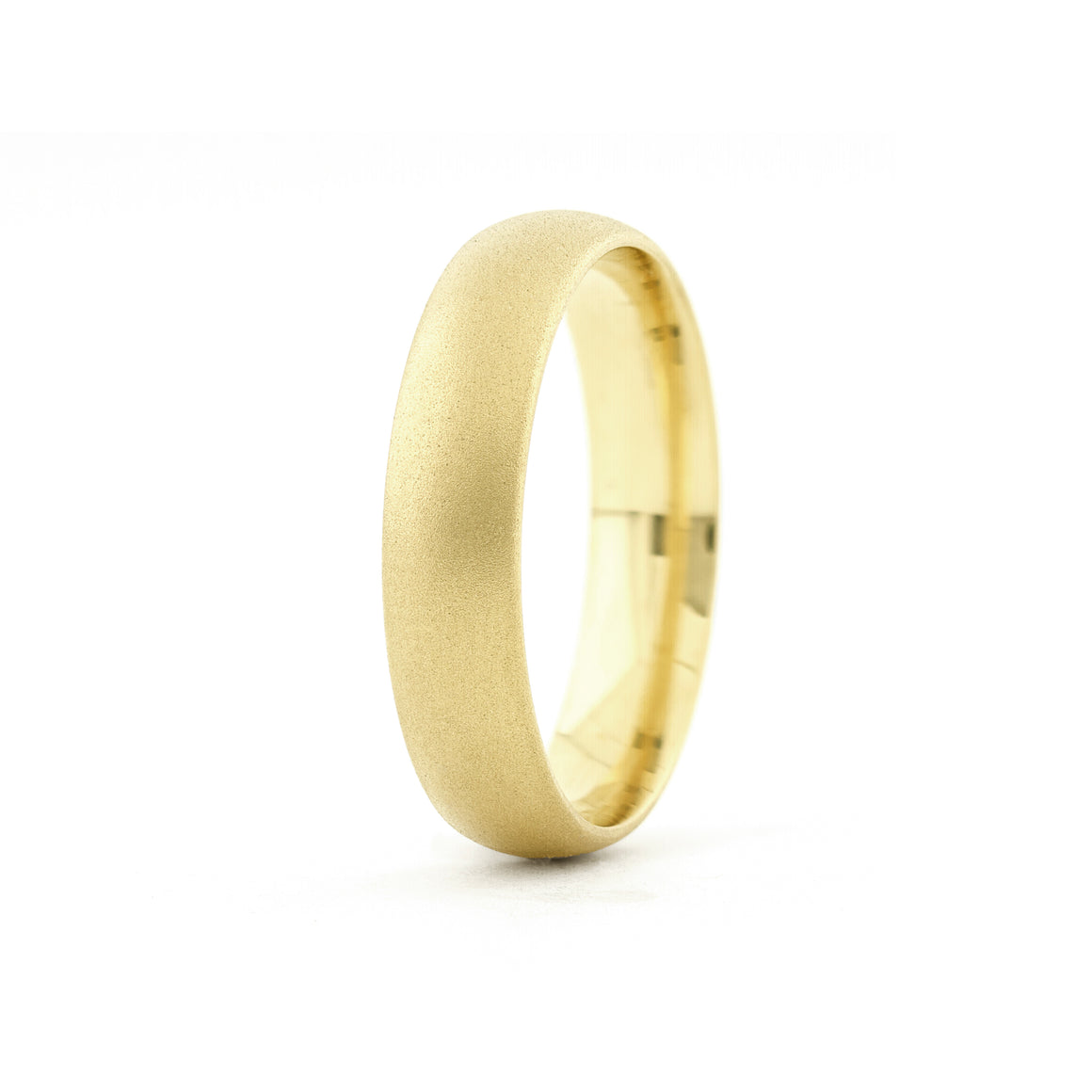 Classic Men's 5mm Matte Band in Yellow Gold