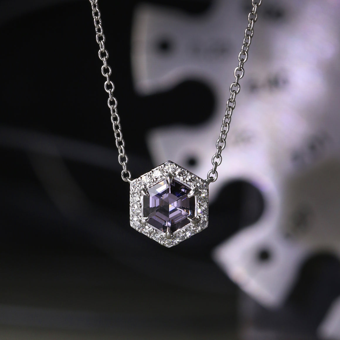 Hex Halo Spinel Necklace in Platinum