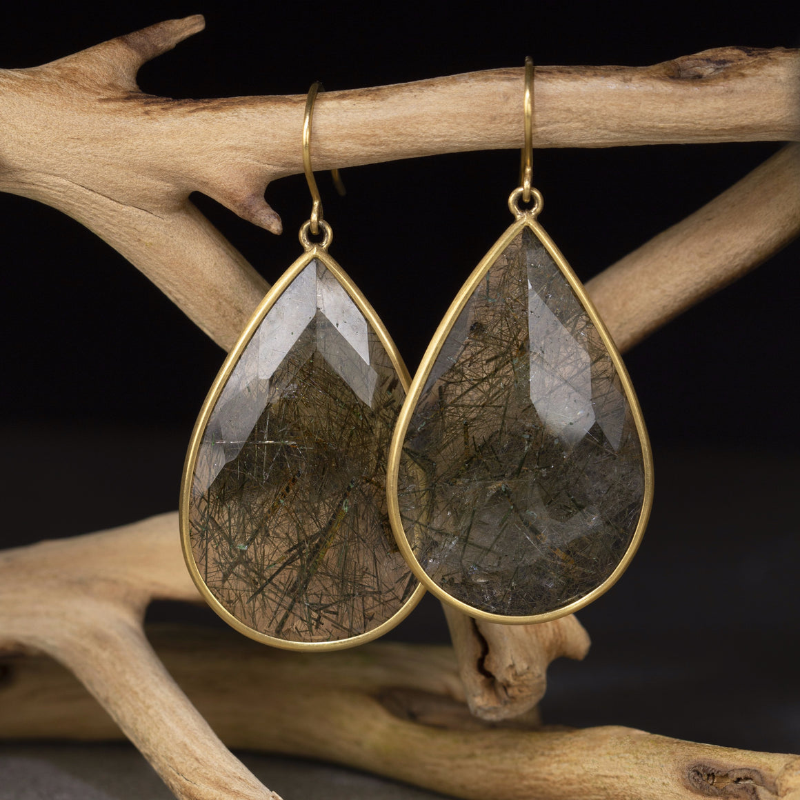 Green Actinolite in Quartz Drop Earrings