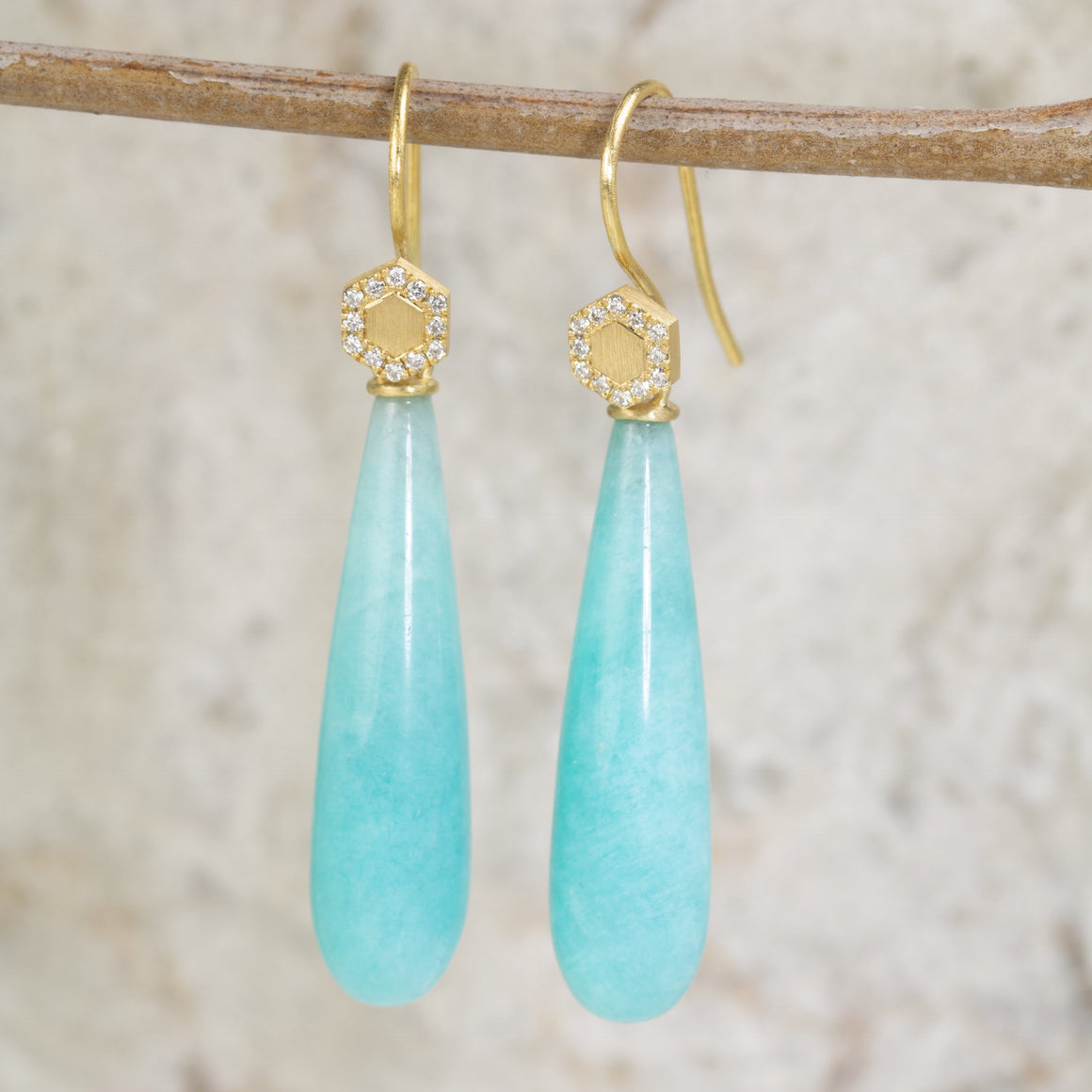 Hex Amazonite Drop Earrings