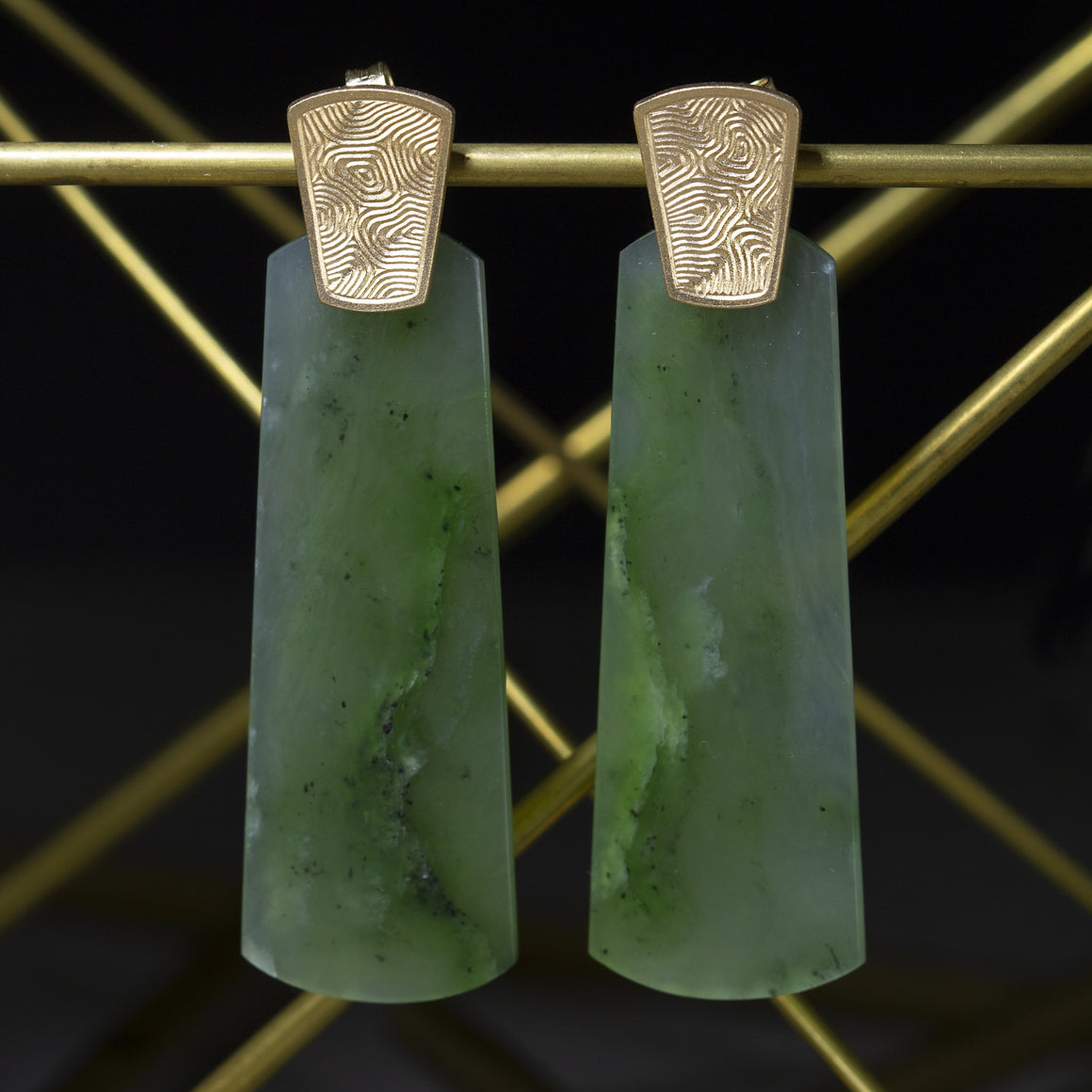 Big Sur Jade Earrings with Engraved Tops