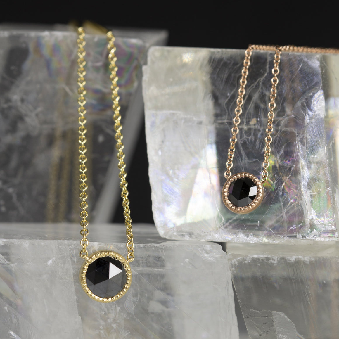 Rose Cut 7mm Black Diamond Pendant in Yellow Gold