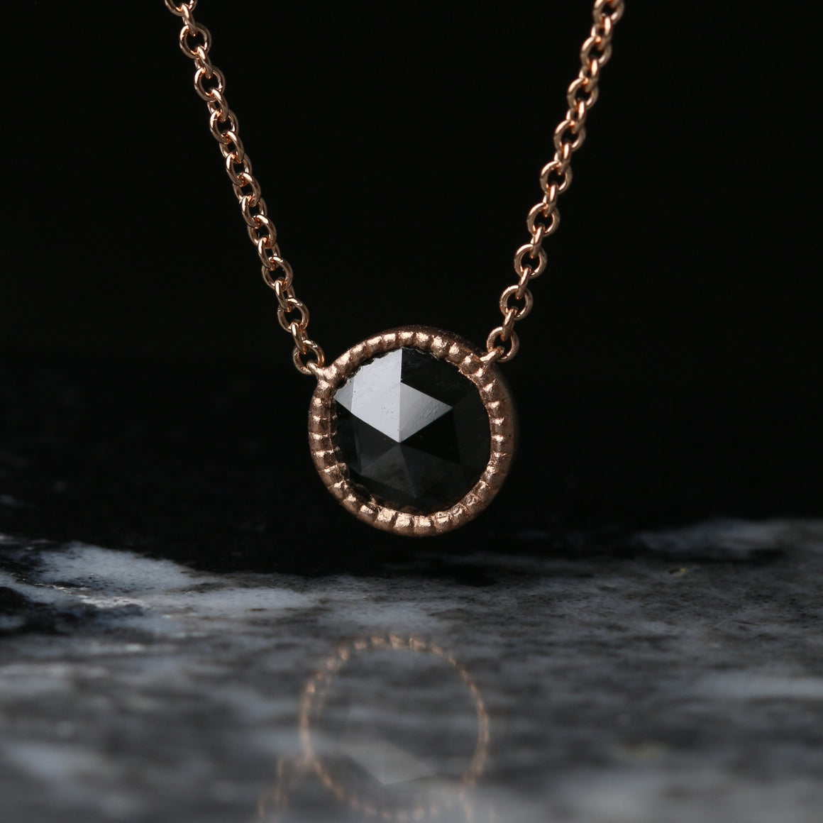 Rose Cut 7mm Black Diamond Pendant in Rose Gold