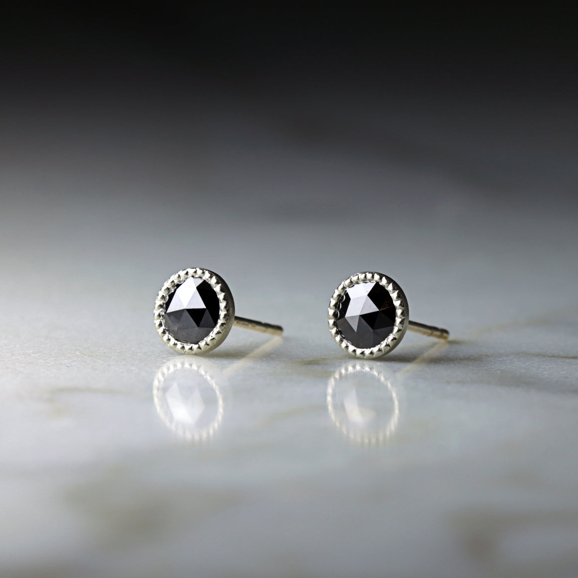 Black Diamond Rose Cut Stud Earrings in White Gold