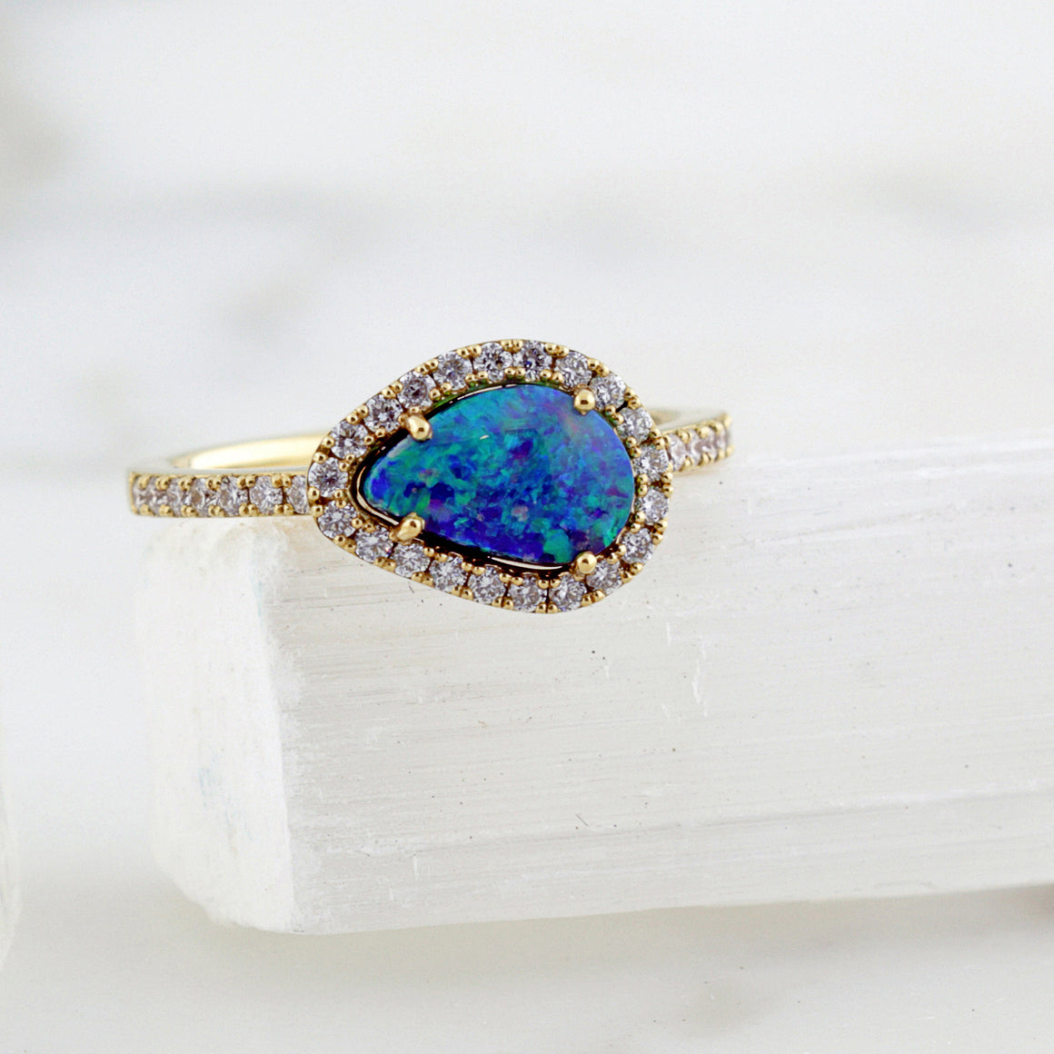 Black Opal Halo Ring