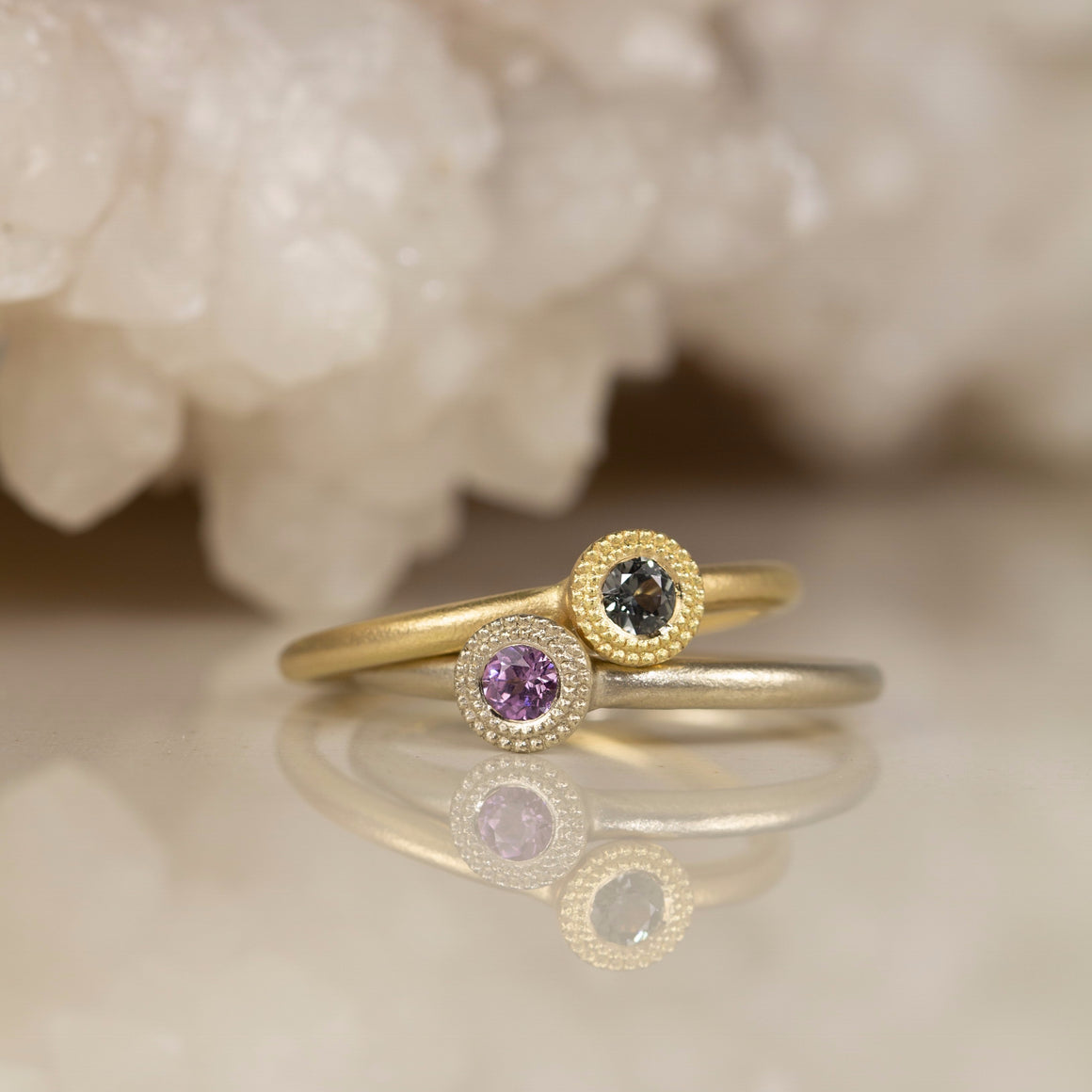 Bloom Stacking Ring with Indigo Sapphire