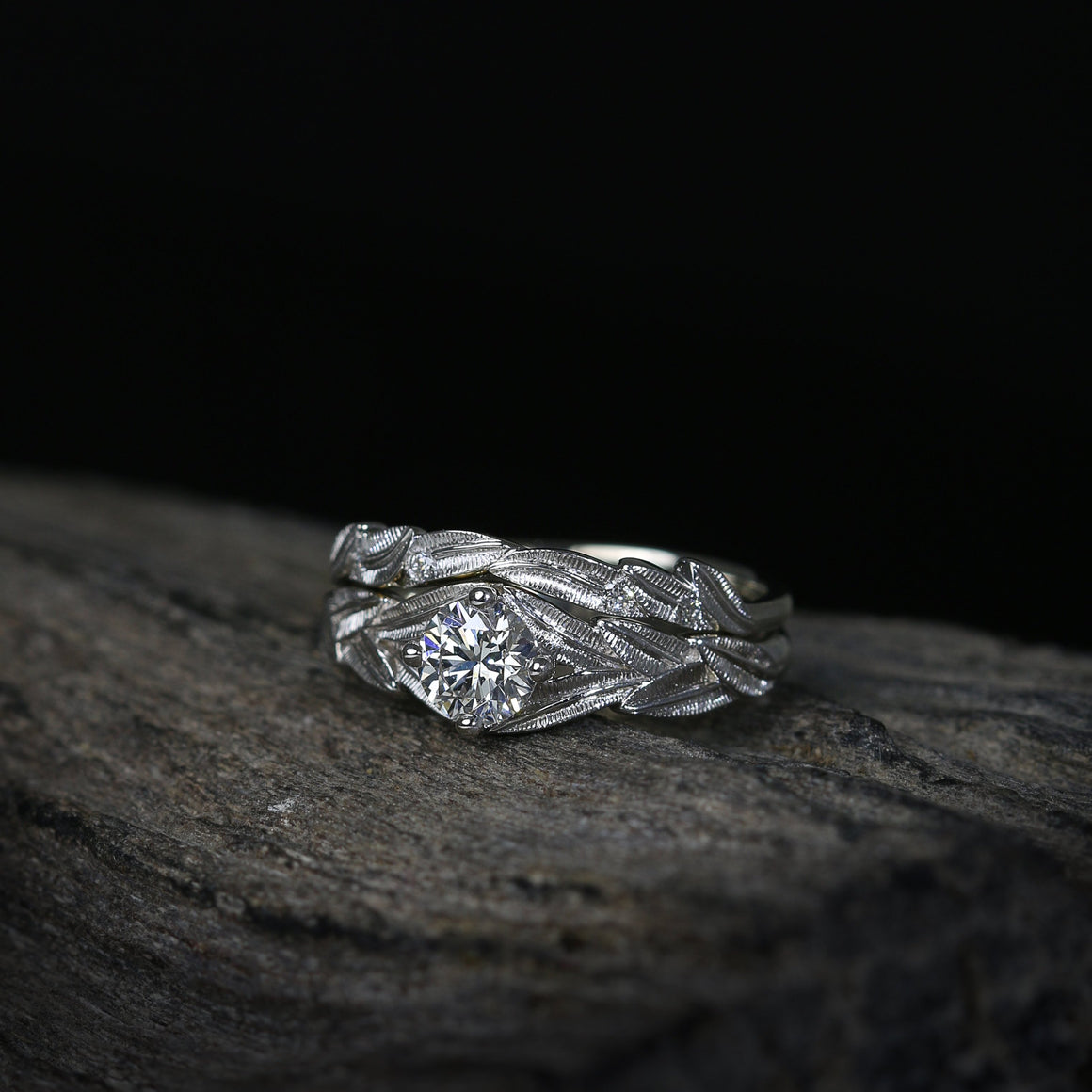 Botanica Engagement Ring Set in White Gold