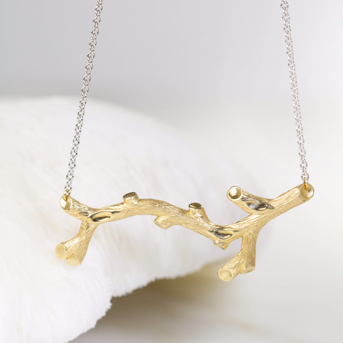 Woodland Branch Necklace in Yellow Gold with a White Gold Chain