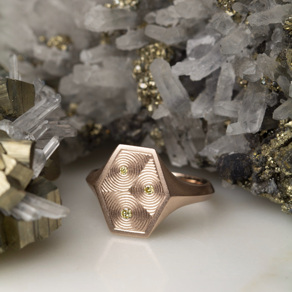 Hex Signet Ring With Canary Yellow Diamonds & Ripple Engraving