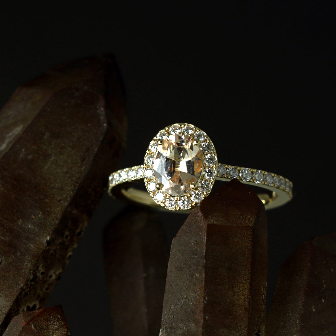 Champagne Sapphire Oval Halo Ring