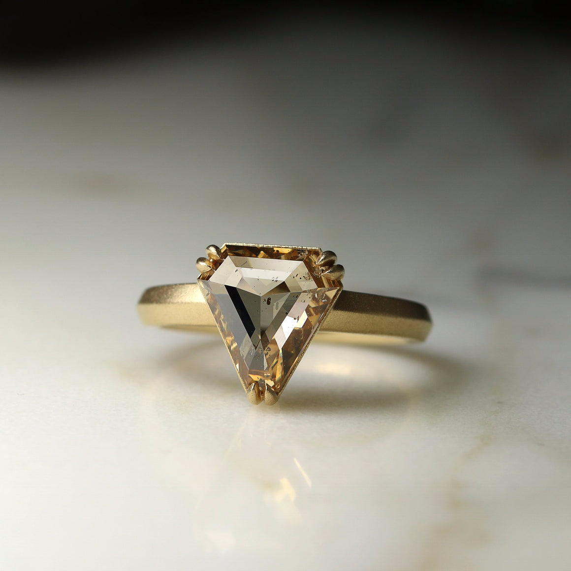 Champagne Rose Cut Shield Diamond Ring in Yellow Gold