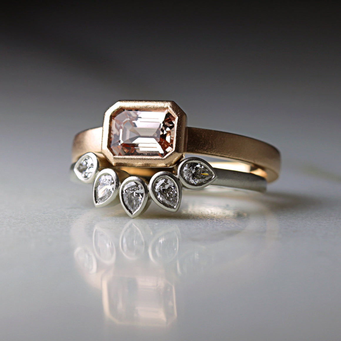Clara Ring with Peach Sapphire in Rose Gold