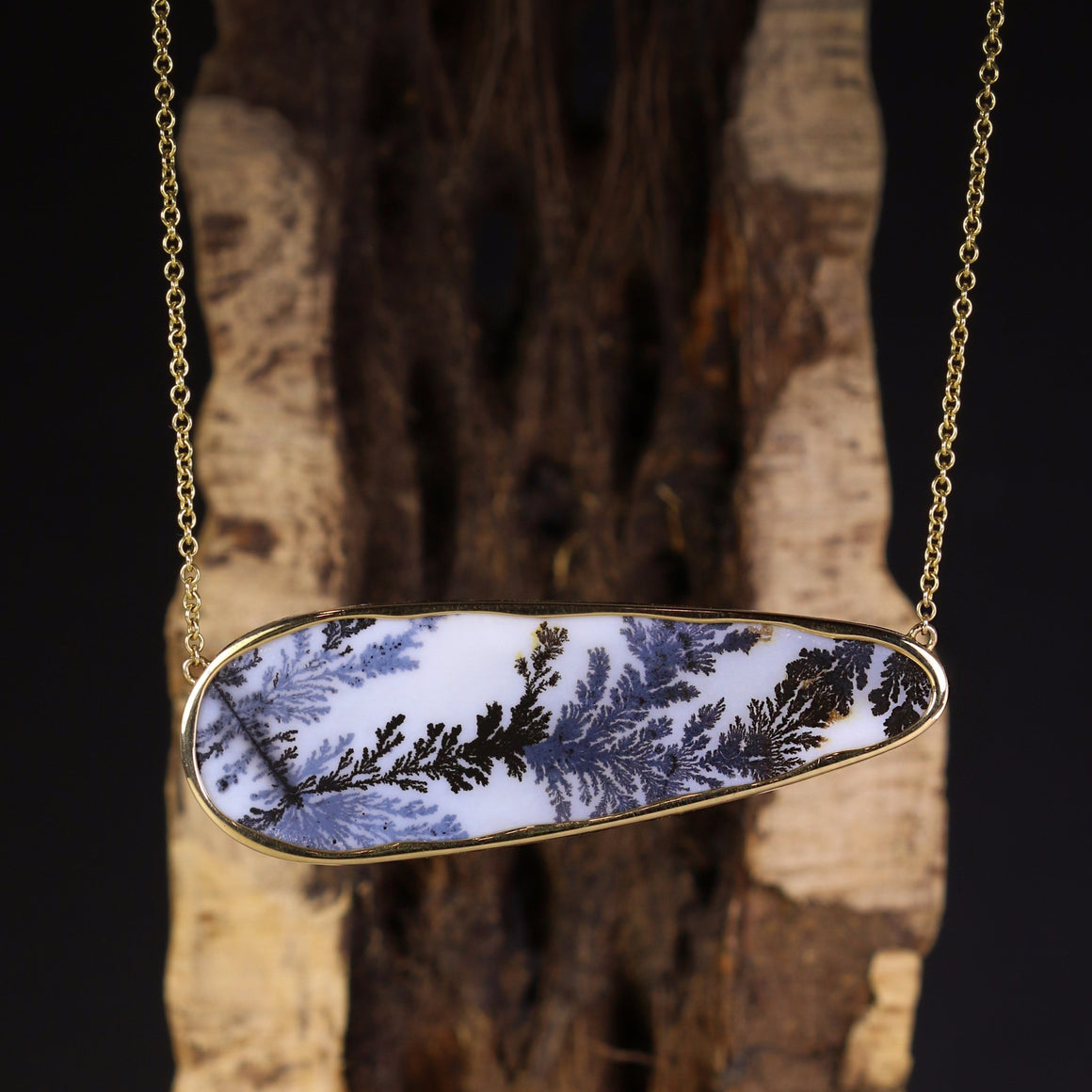 Black & White Dendritic Agate Necklace in Yellow Gold
