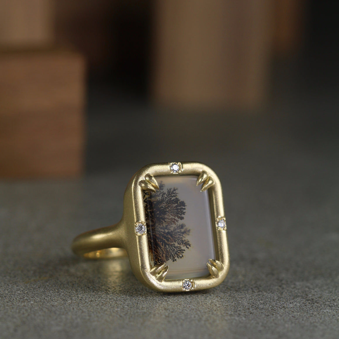 Dendritic Agate Ring with Rectangular Agate in Yellow Gold
