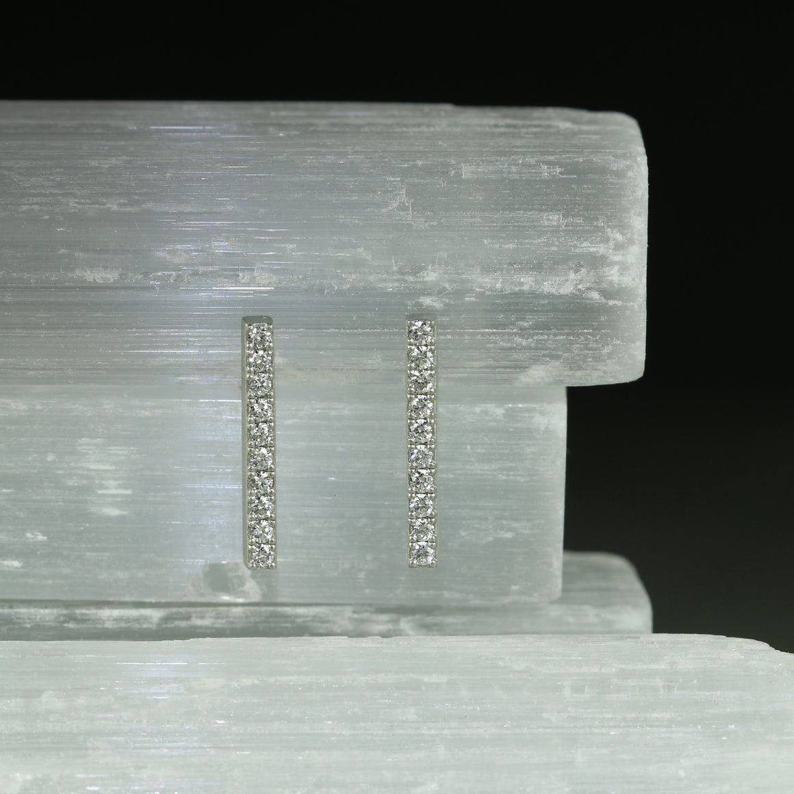 Diamond Bar Earrings in Platinum