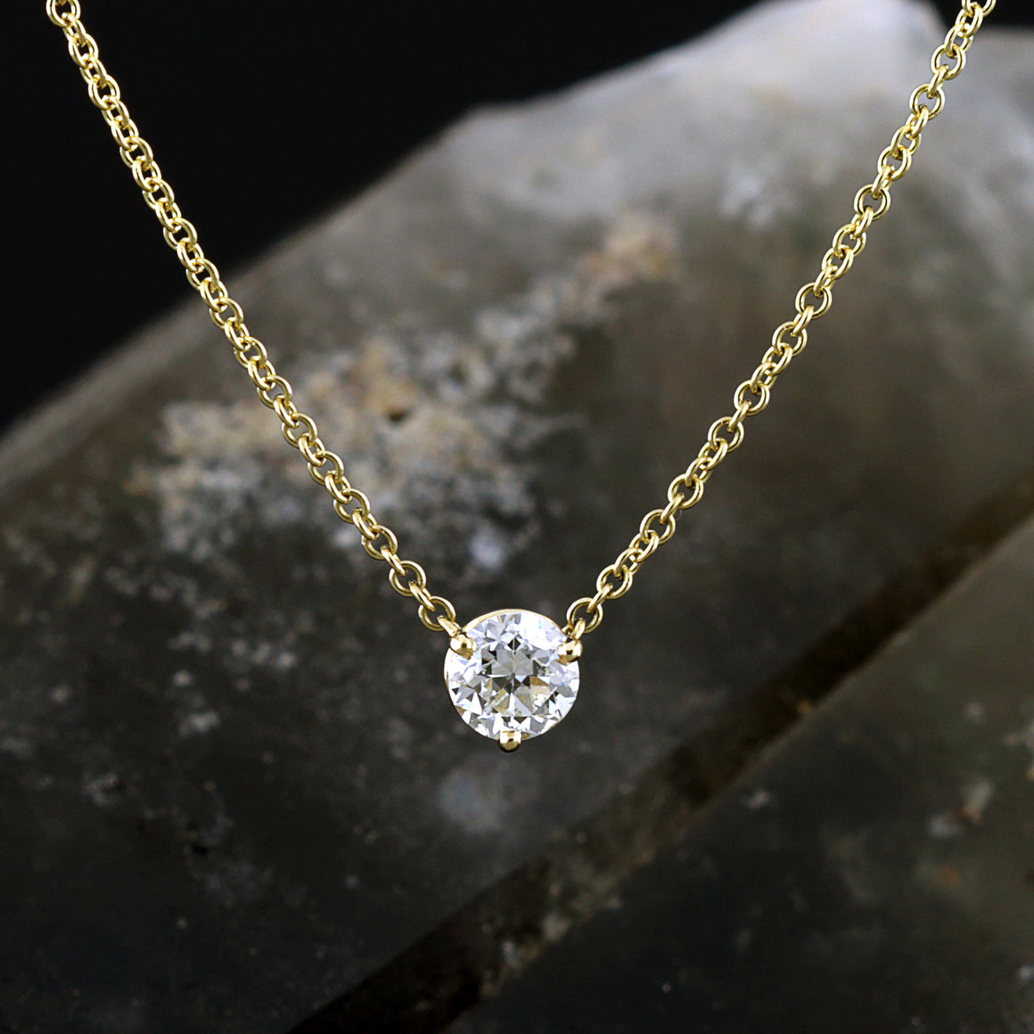 Diamond Solitaire Pendant in Yellow Gold - 1/2 carat