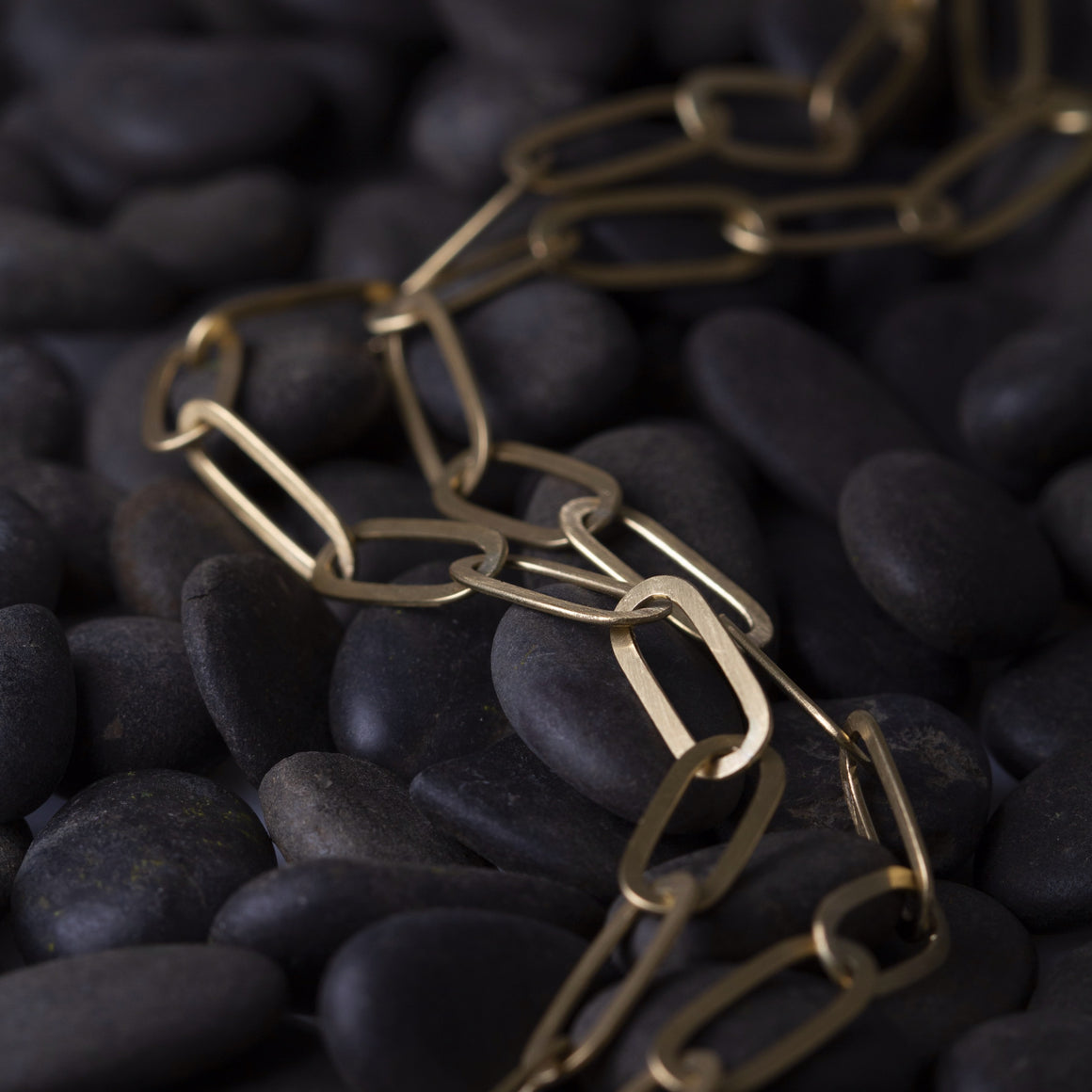 Flat Link Chain Necklace in Yellow Gold