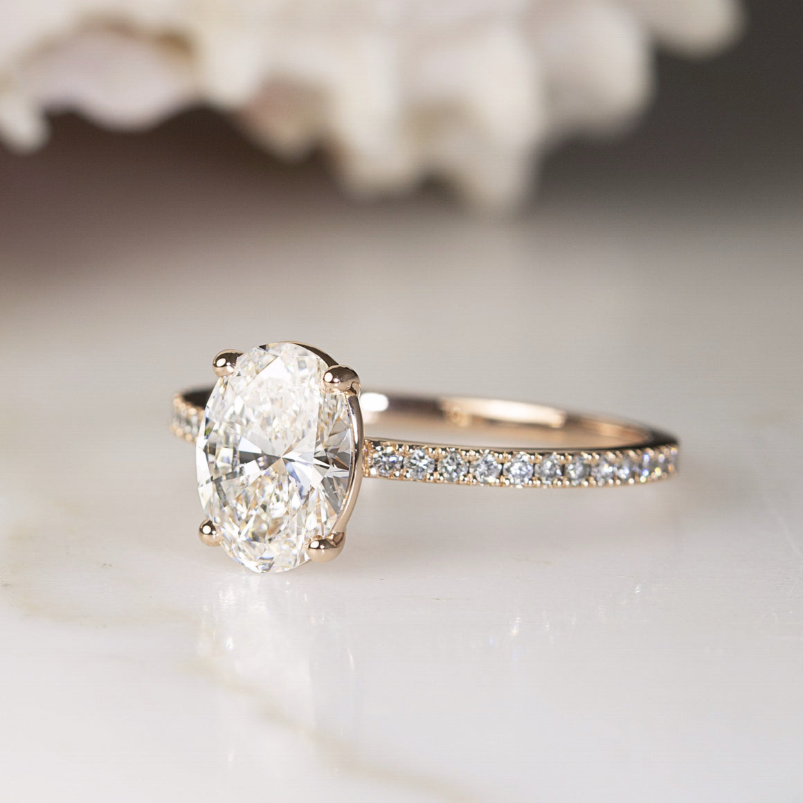Oval Grace Engagement Ring in Rose Gold