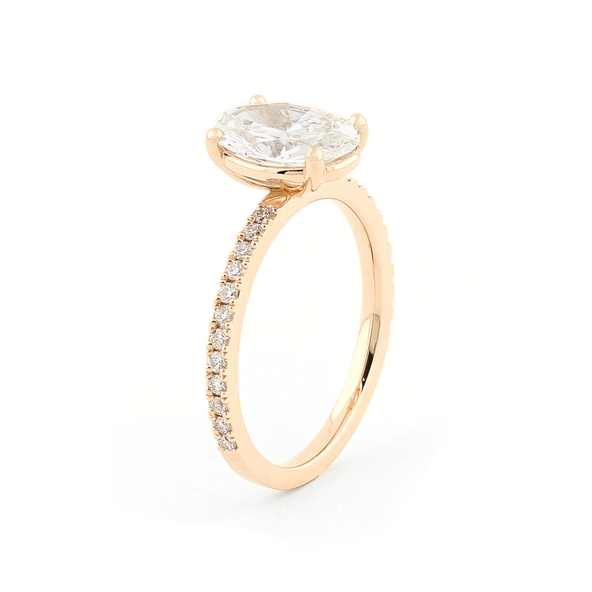 Grace Oval Diamond Solitaire Ring in Rose Gold