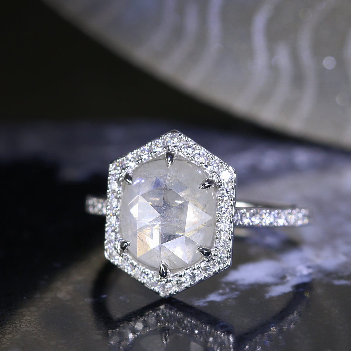 Hailey Ring with Silky White Rose Cut Diamond