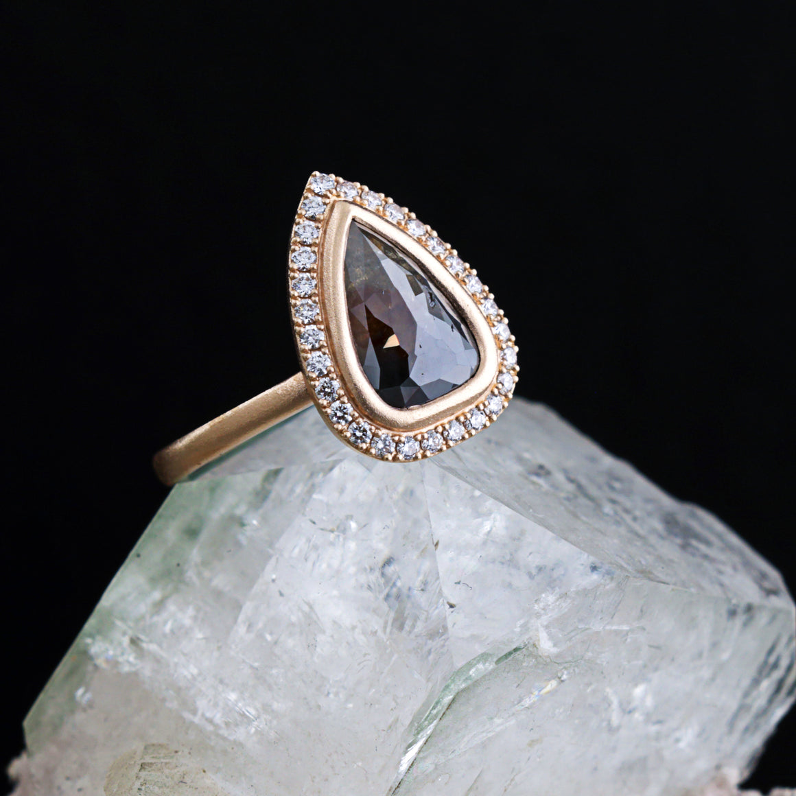 Halo Rose Cut Pear Diamond Ring in Rose Gold