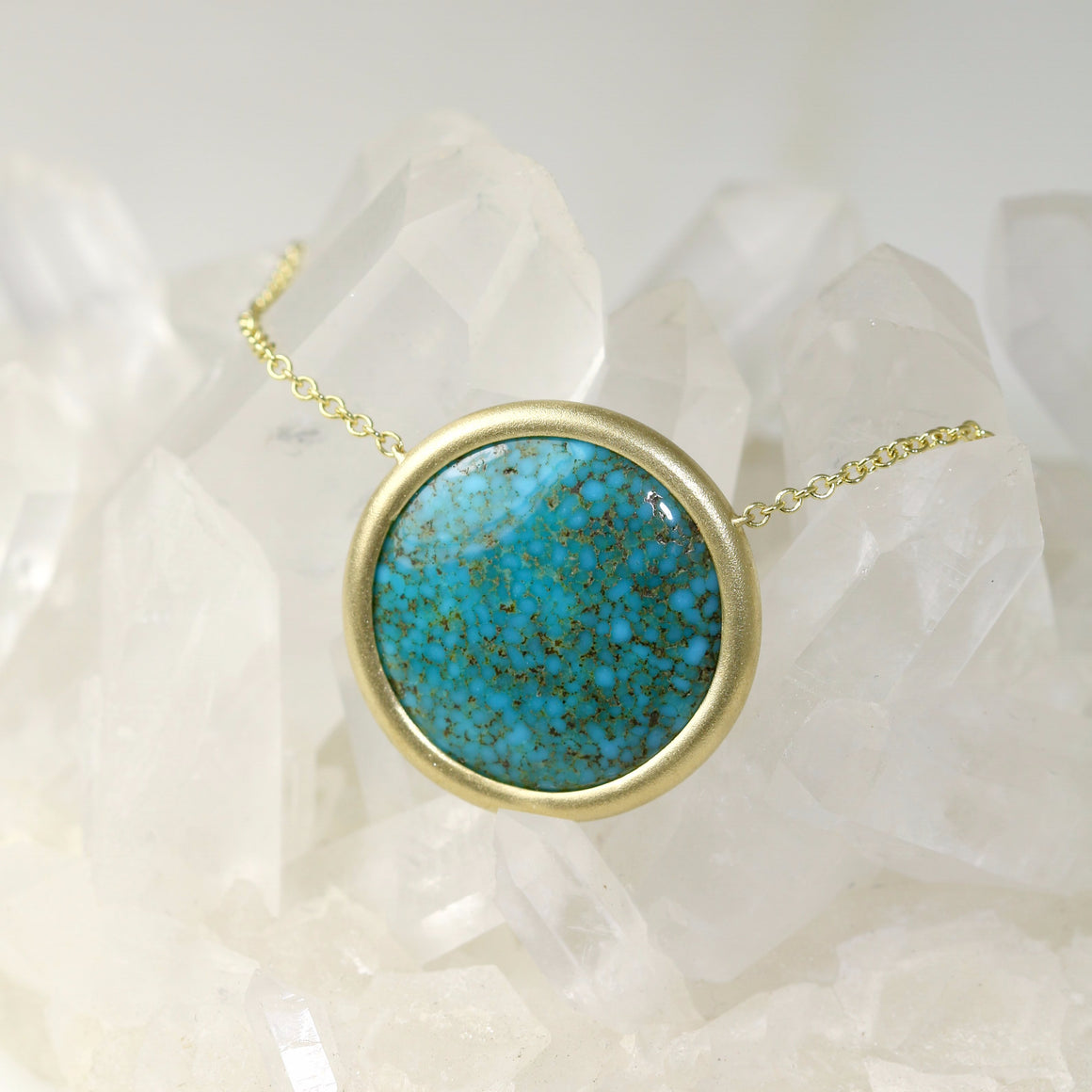 Kingman Turquoise Necklace in Yellow Gold