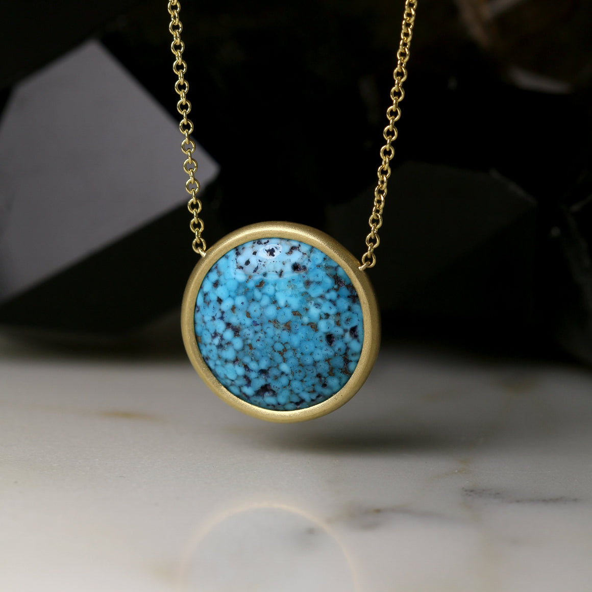 Kingman Turquoise Necklace in Yellow Gold - Small