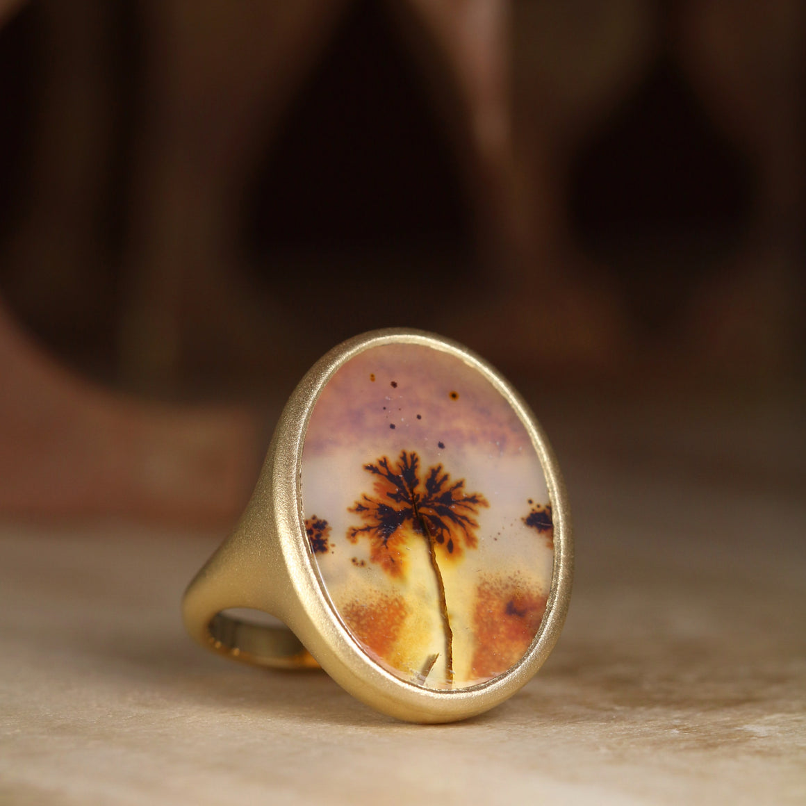 Kira Ring with Dendritic Agate