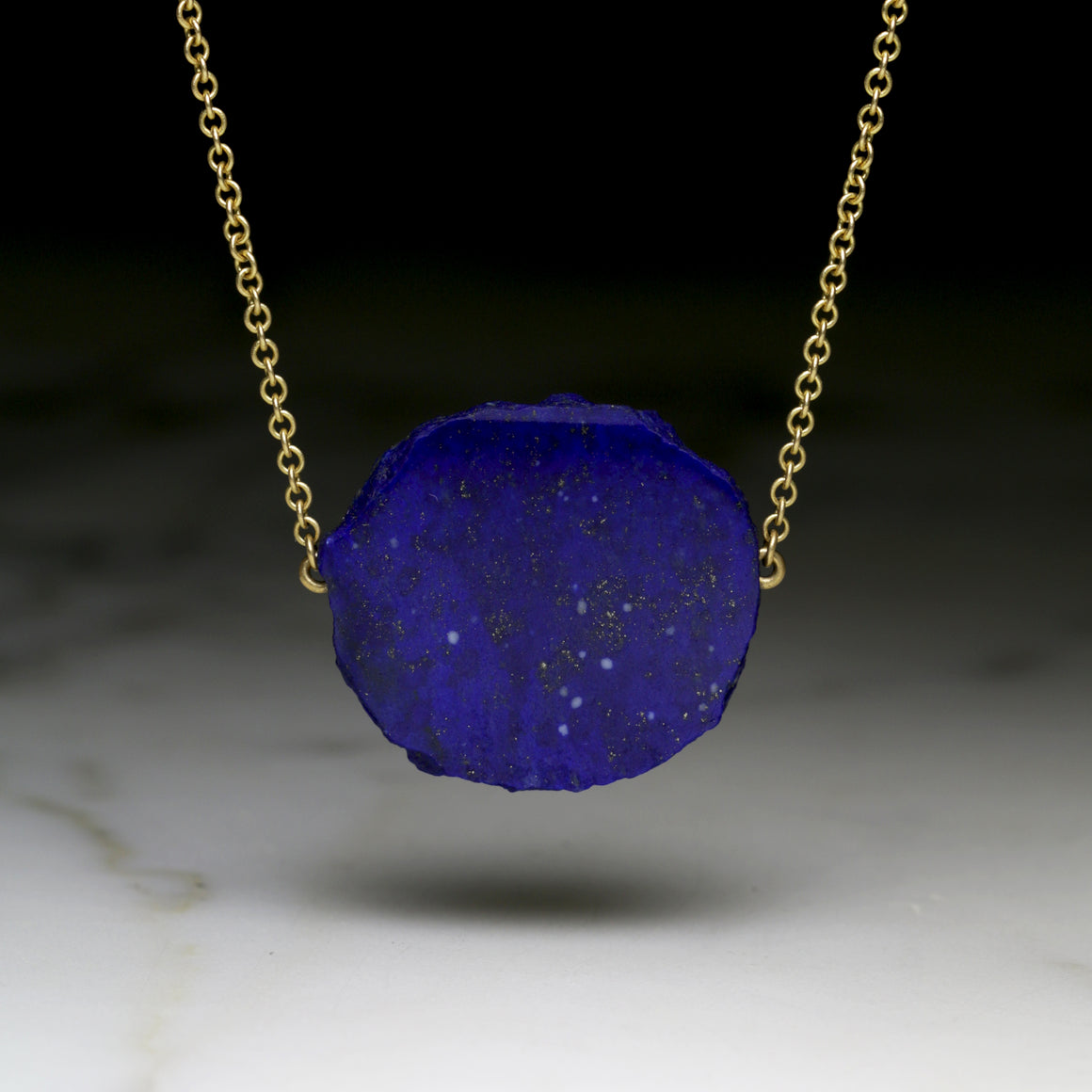 Lapis Slab Necklace on Yellow Gold Chain