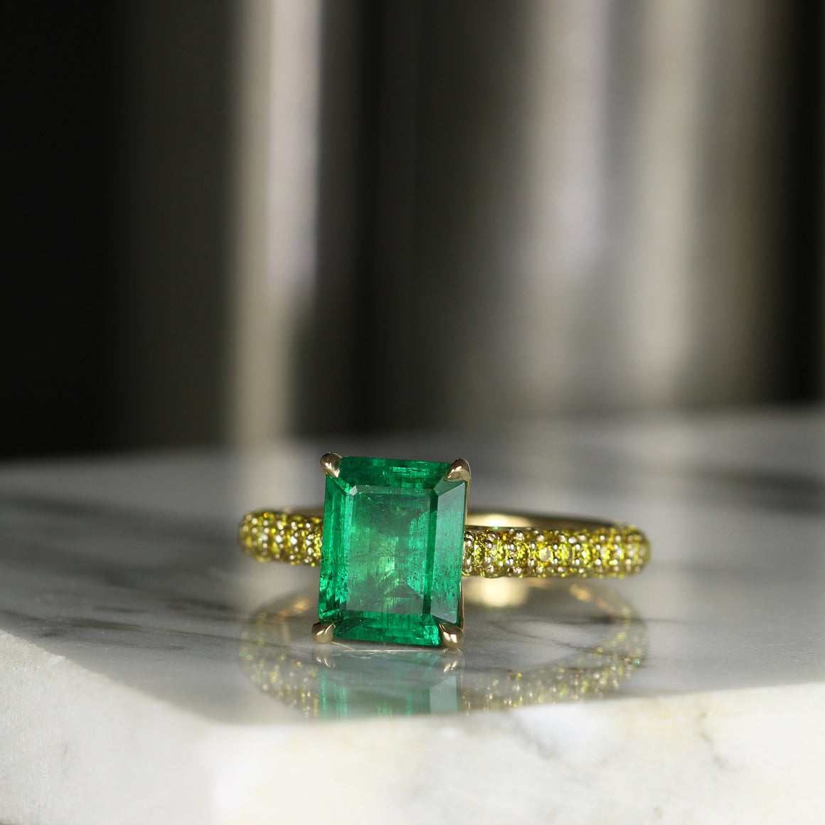 Lexi Ring with Emerald and Vivid Yellow Diamond Pavé