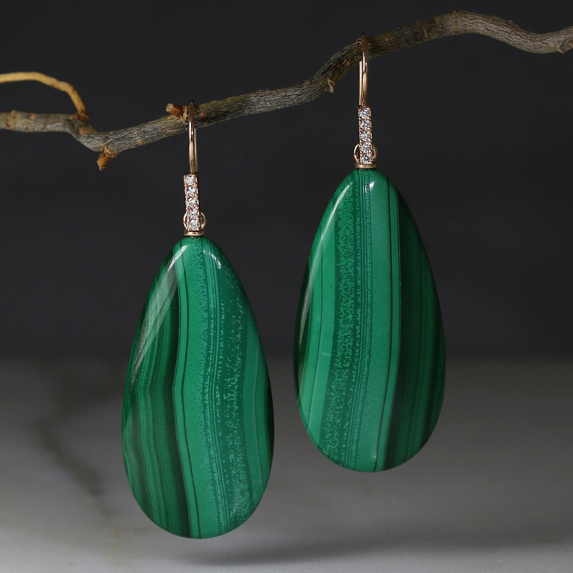 Malachite & Diamond  Drop Earrings in Rose Gold
