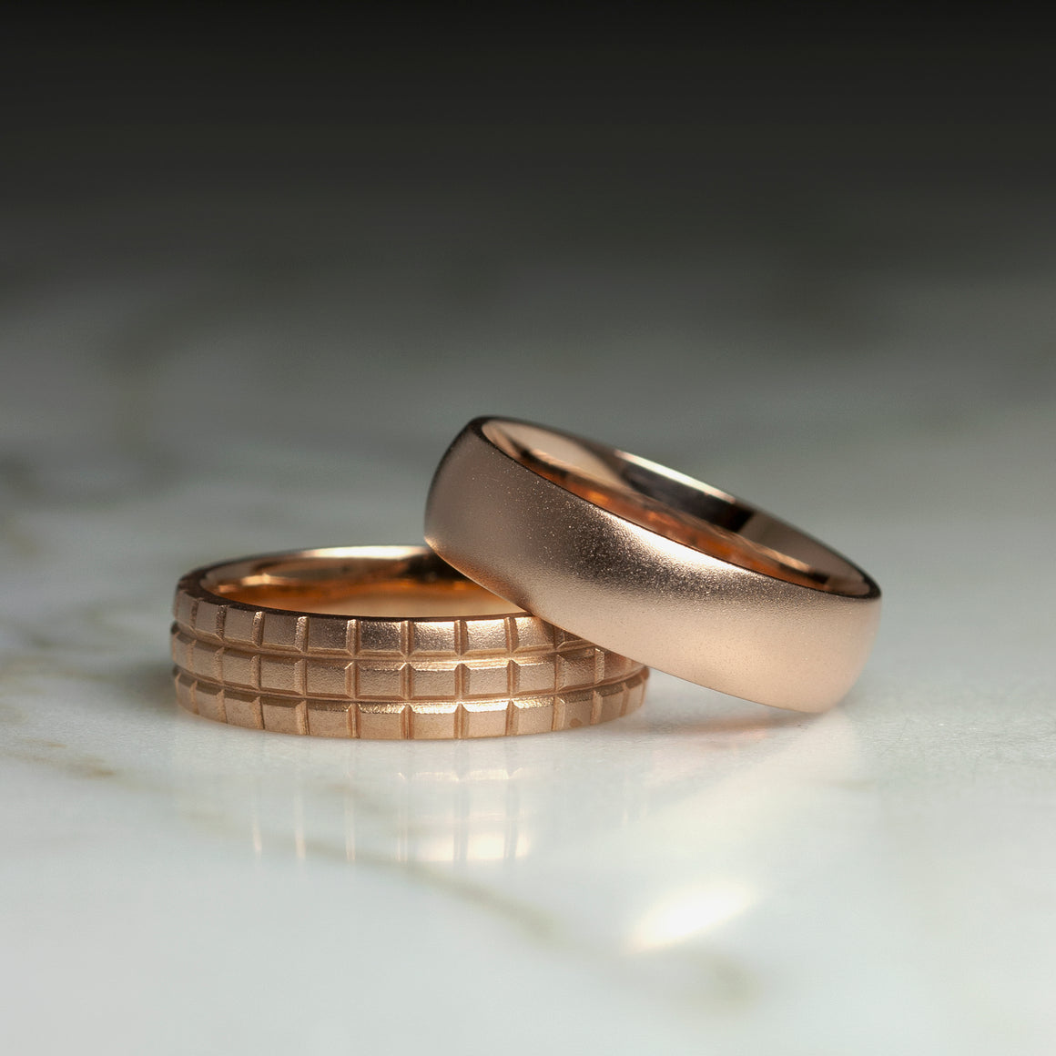 Classic Men's 6mm Matte Band in Rose Gold