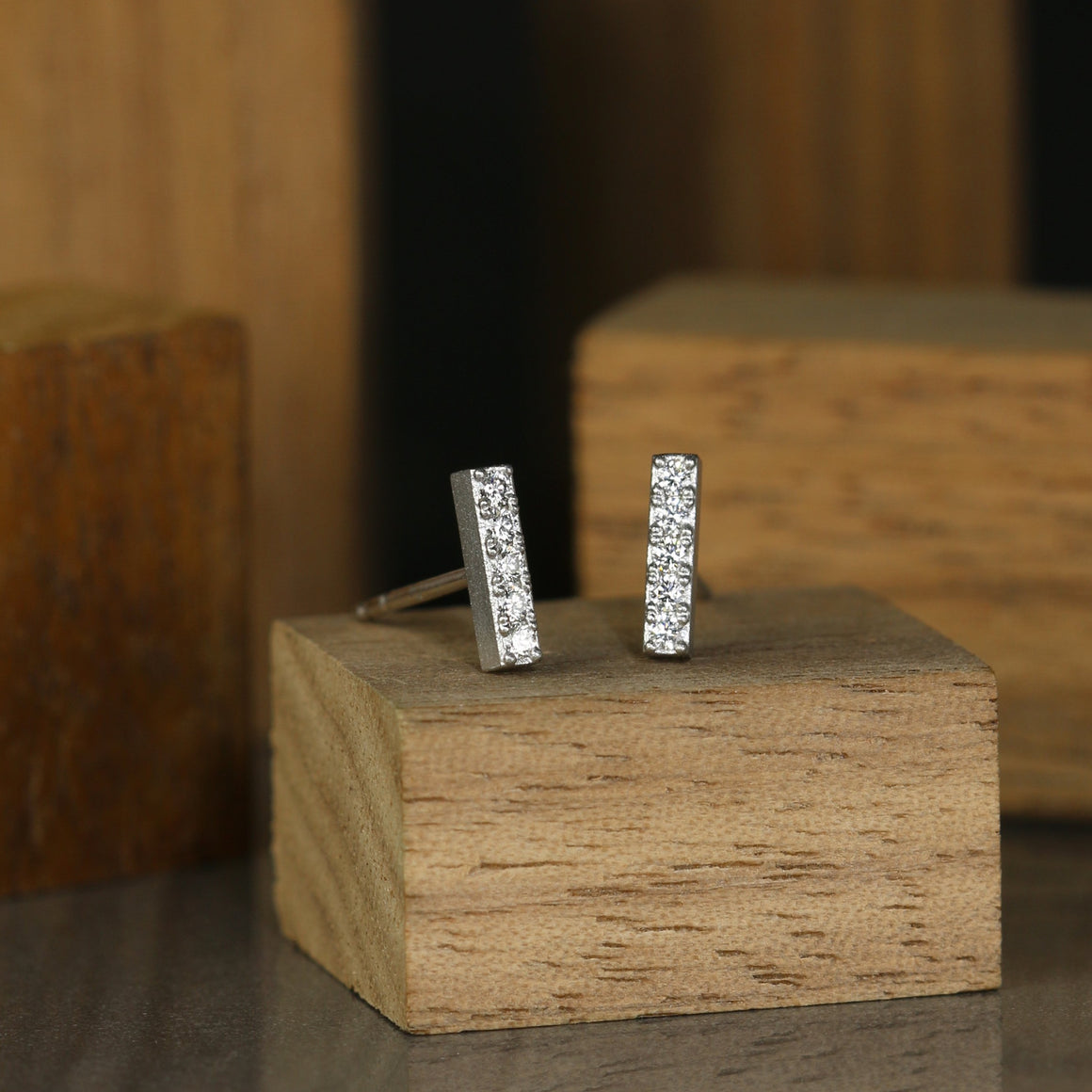 Mini Bar Earrings in Platinum