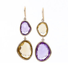 Piedras Double Drop Earrings in Amethyst and Champagne Quartz