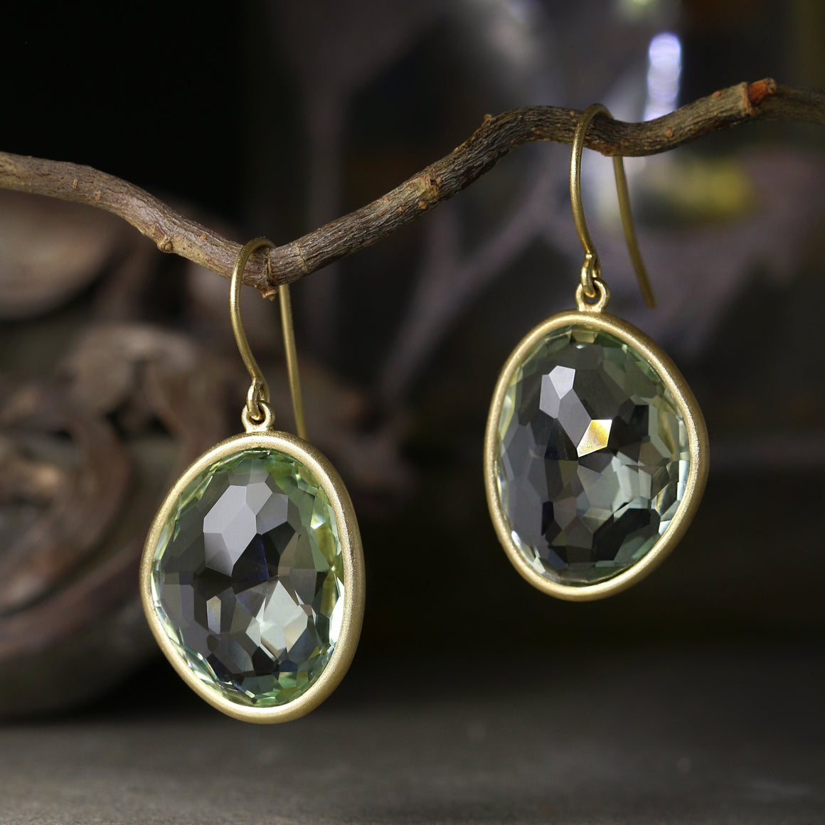Piedras Earrings with Prasiolite - Medium