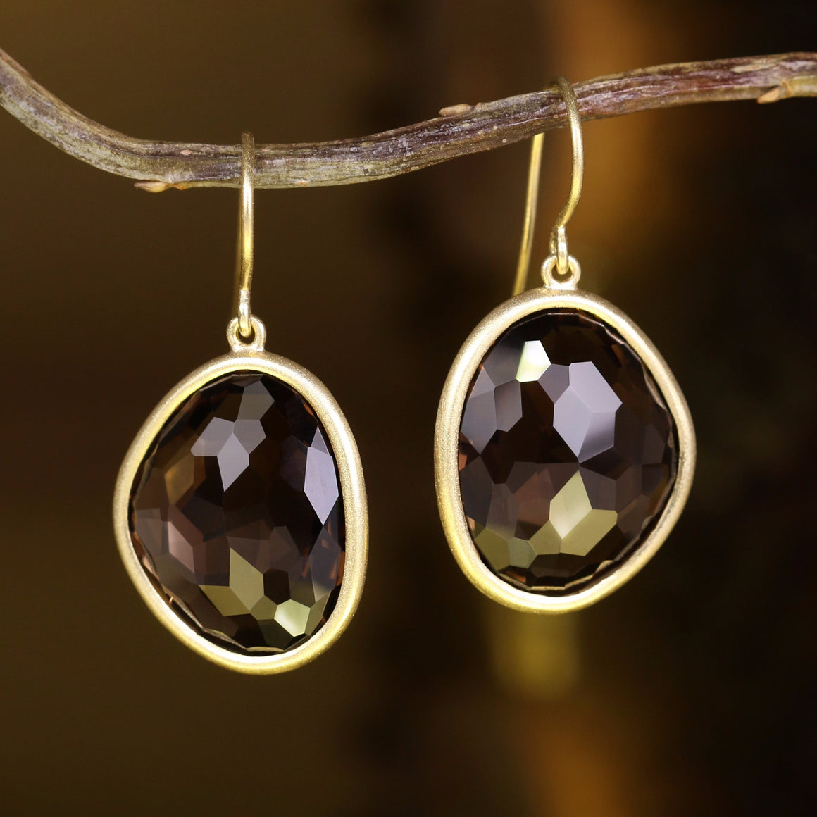 Piedras Earrings with Smokey Quartz - Medium