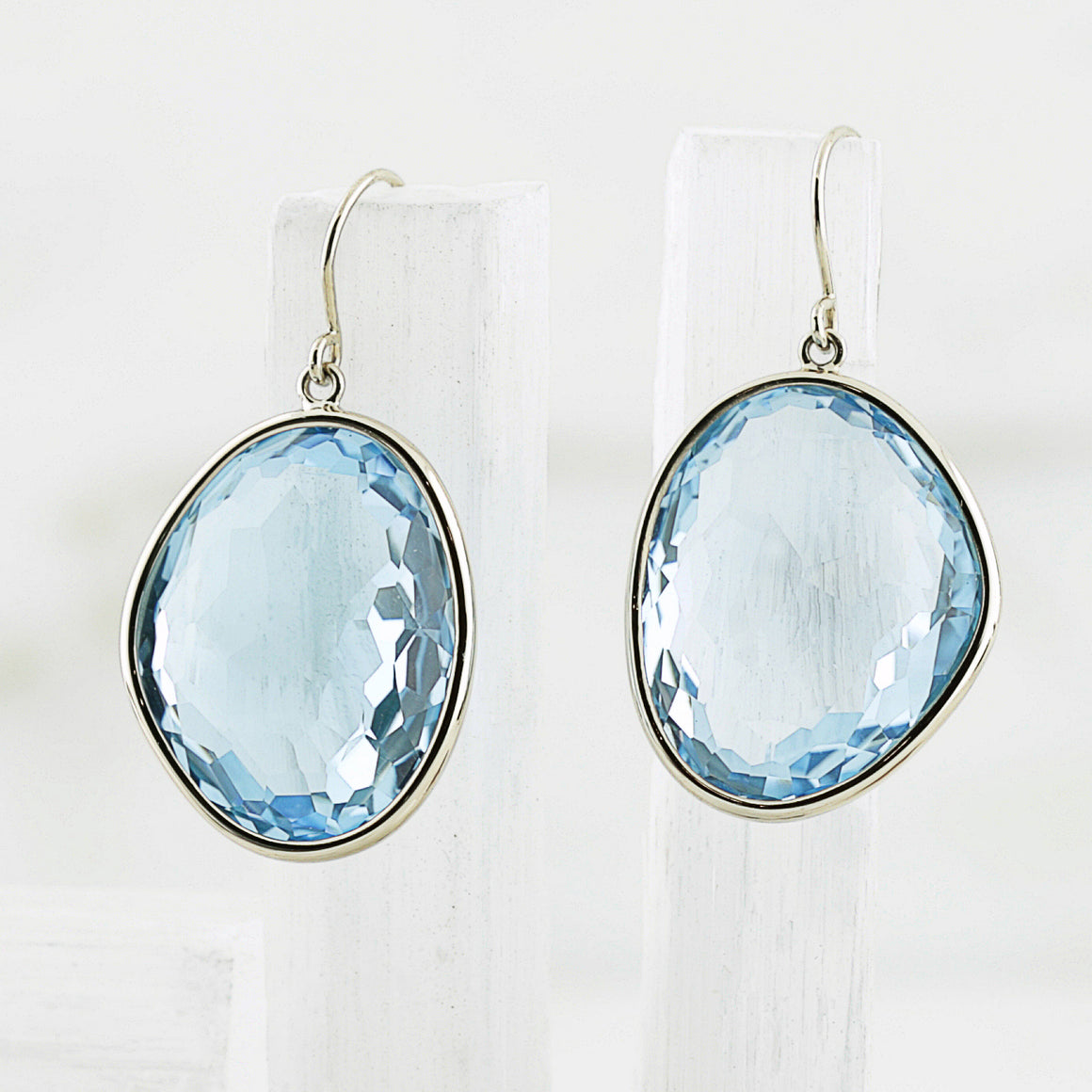Piedras Earrings with Blue Topaz - Large