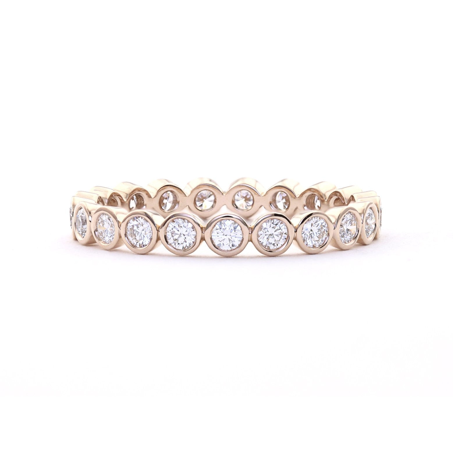 ring gold rings diamond bezel white in stone three set