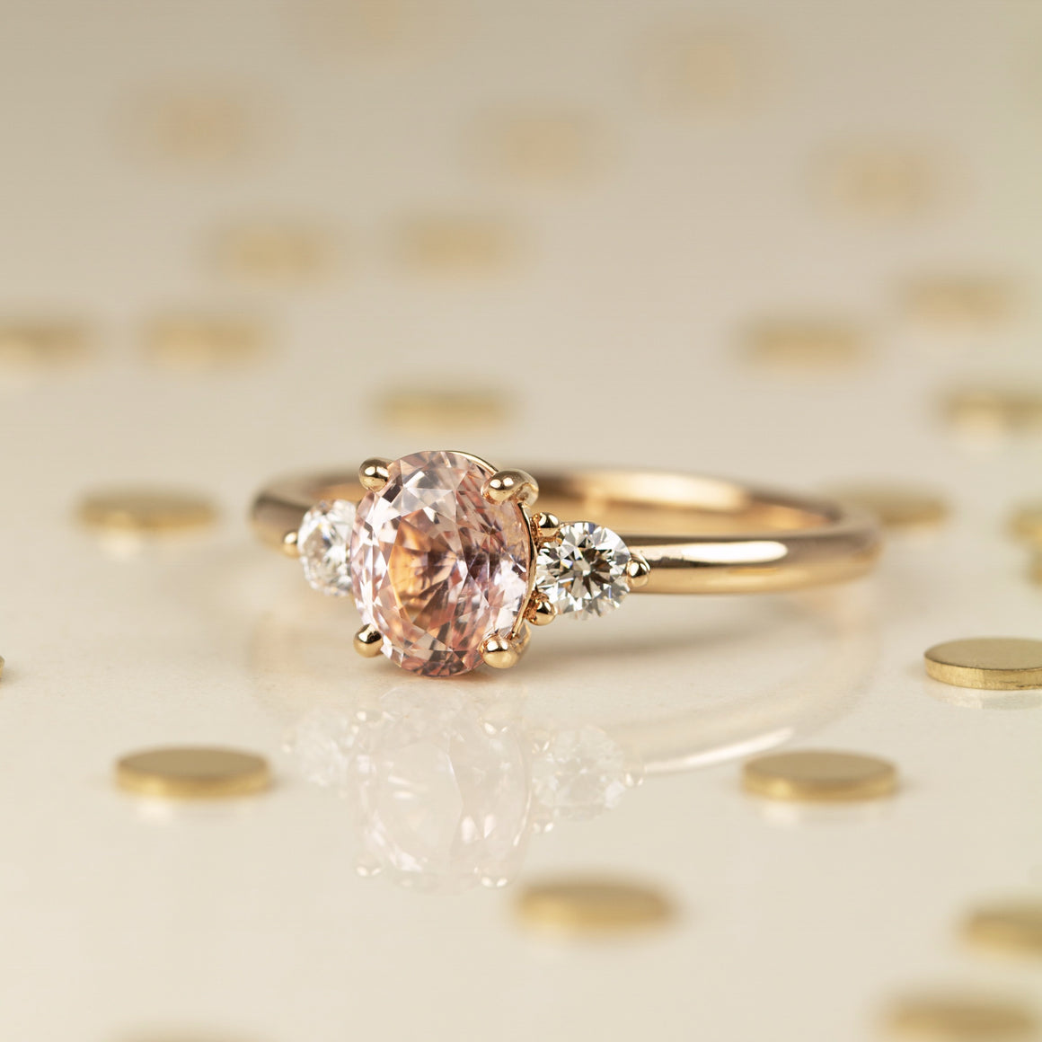 Riley Ring with Peach Sapphire & Diamonds in Rose Gold