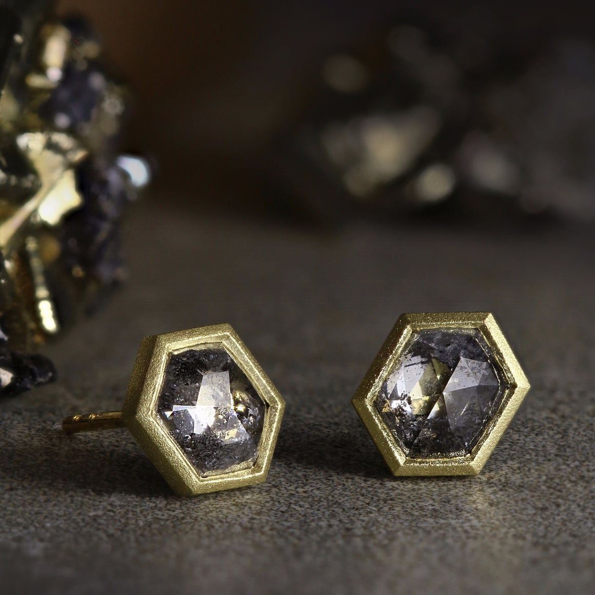 Salt & Pepper Hex Diamond Studs