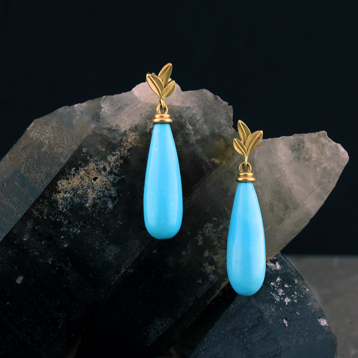 Botanica Sleeping Beauty Turquoise Drop Earrings in Yellow Gold
