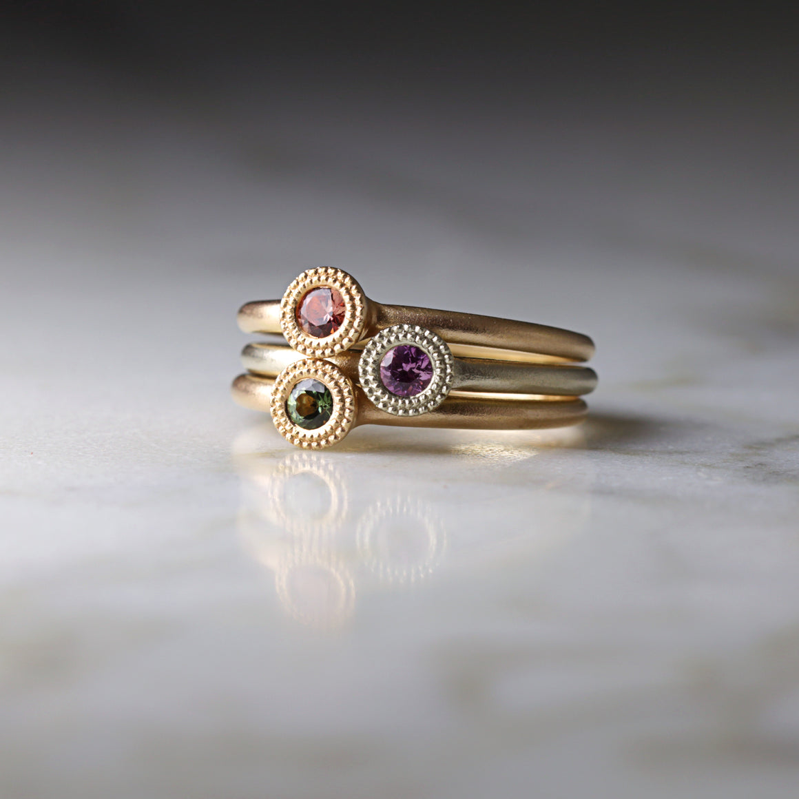 Bloom Stacking Ring with Padparadscha Sapphire