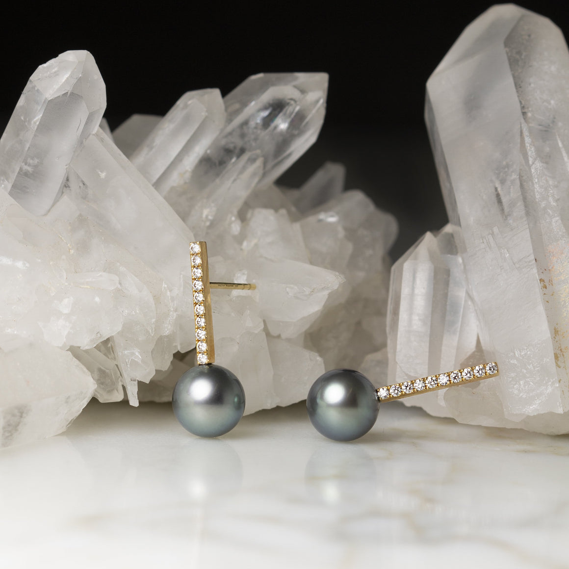 Diamond Bar Earrings with Tahitian Pearls