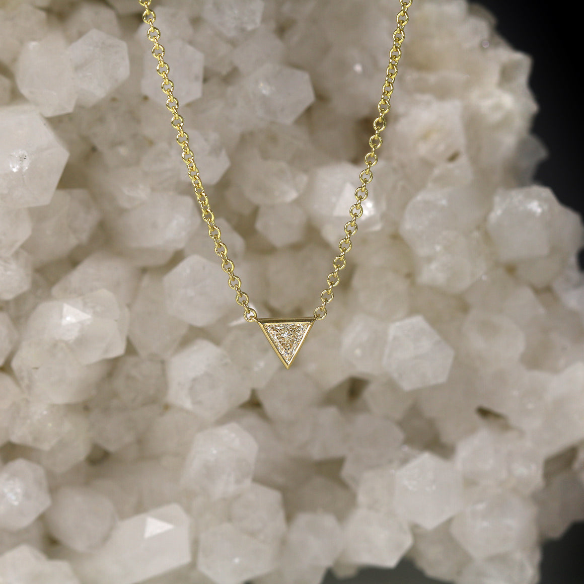 Triangular Diamond Solitaire Bezel Set Necklace in Yellow Gold - 0.18ct