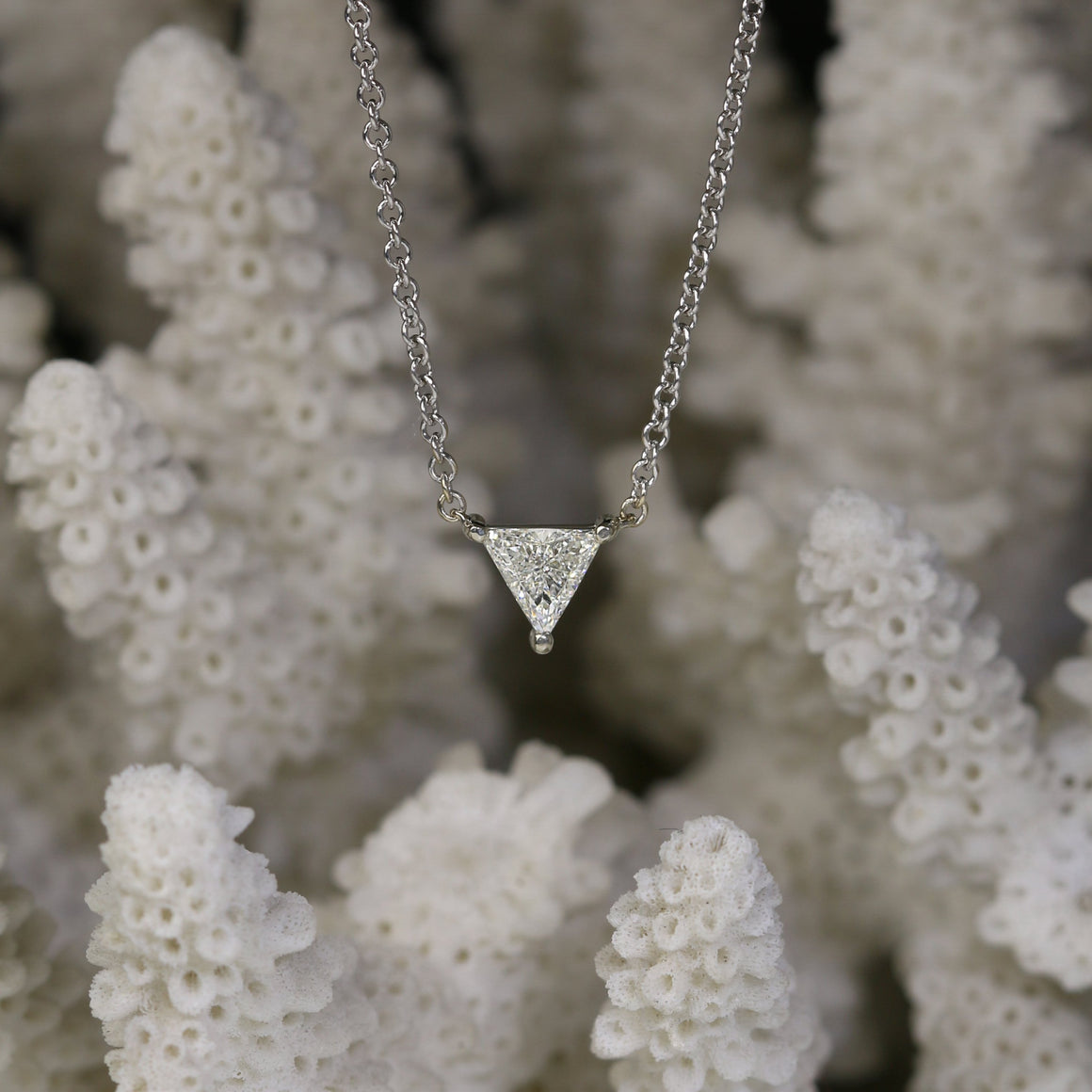 Triangular Diamond Solitaire Necklace in White Gold - 0.29ct