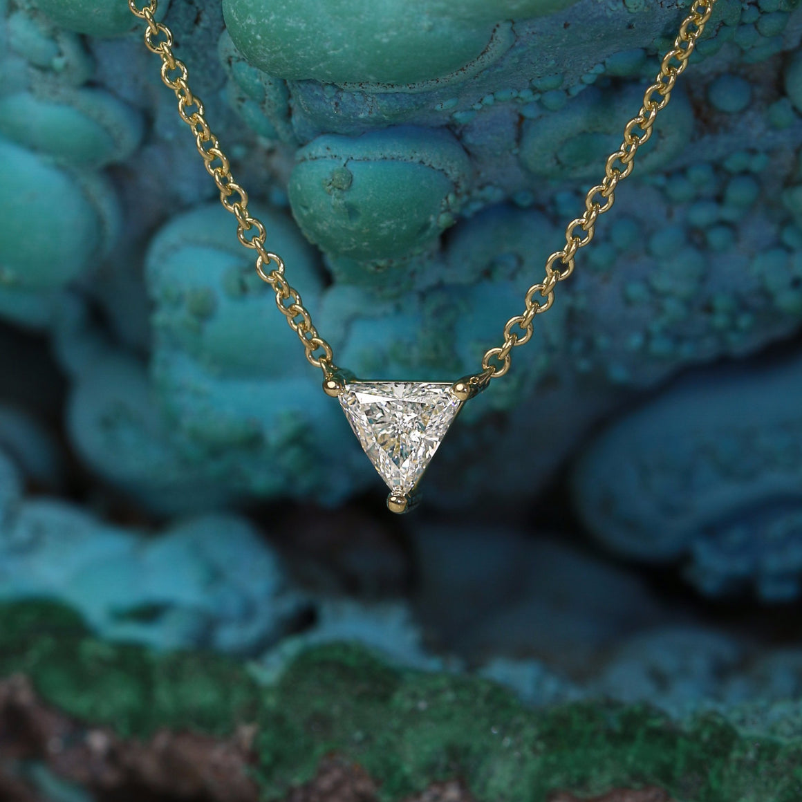 Triangular Diamond Solitaire Necklace in Yellow Gold - 0.36ct